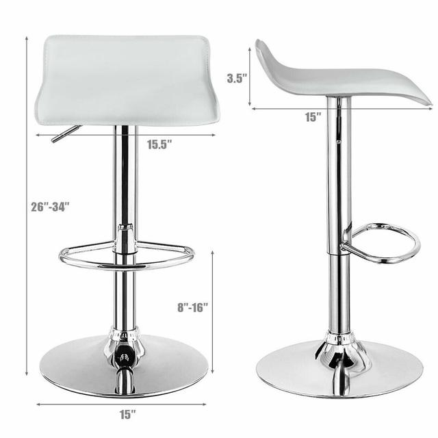 Set of 4 Swivel Bar Stool PU Leather Adjustable Kitchen Counter Chair 2