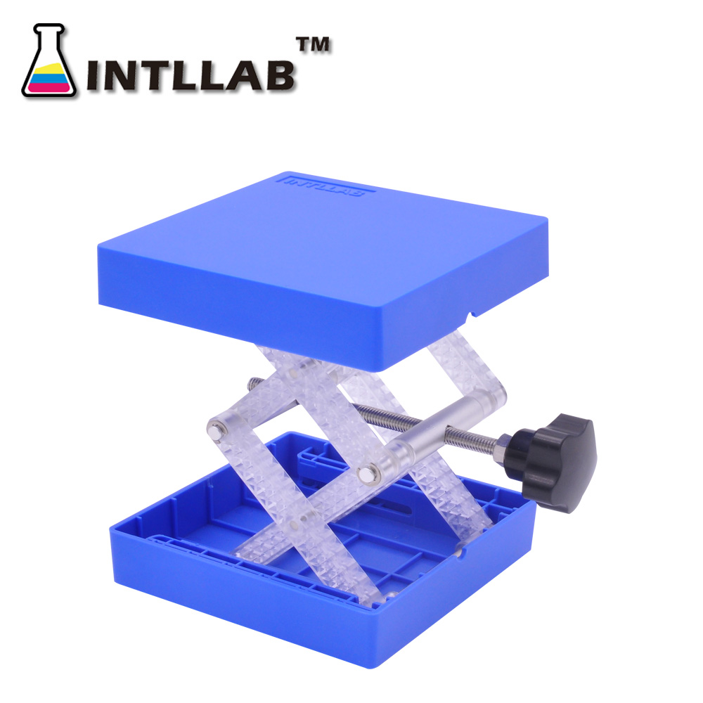 Laboratory Lifting Platform Stand Rack Scissor Jack Bench Lifter Table Lab 100x100mm By Plastic And Resistant Stainless Steel