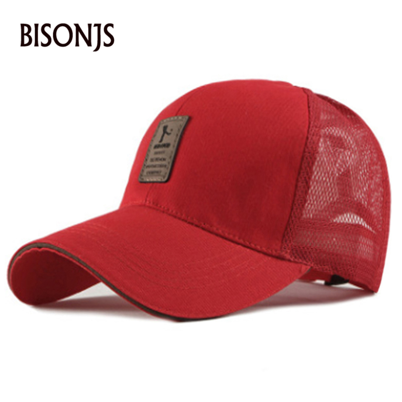 BISONJS 2020 New Hollow Design Breathable Mesh Cap Men Fashion Letter Embroidery Baseball Cap Women Adjustable Wholesale Sun Hat