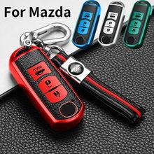 TPU Car Key Cover For Mazda 2 3 5 6 8 Atenza CX5 CX-7 CX-9 MX-5 Keychain Leather Pattern Smart Remote Control Fob Protector Case