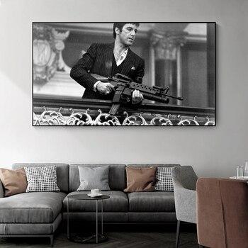 Film priest Tony Montana-lienzo de retrato en blanco y negro, póster impreso,...
