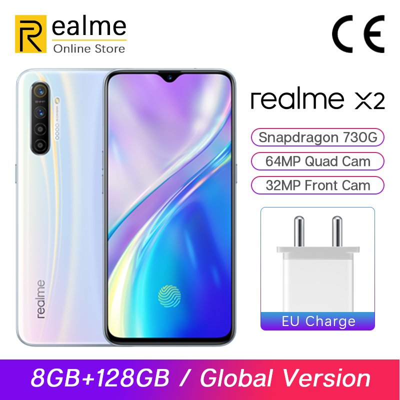 Global Version Realme X2 X 2 8GB 128GB Snapdragon 730G Smartphone Octa Core 64MP Quad Cams 6.4'' NFC Cellphone 4000mAh 30W