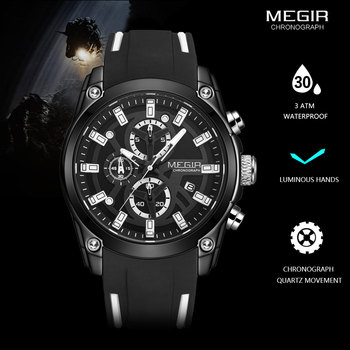 MEGIR Military Sport Watches Men Luxury Top Brand Waterproof Watch Man Silicone Strap Luminous Chronograph Wristwatch Clock 2144 aidis brand girl boy watch women men student simple black white silicone strap watch outdoor luminous sport clock dames horloges