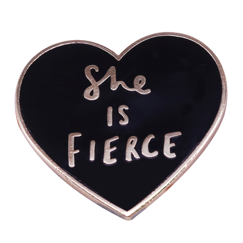 She Is Fierce Enamel Pin Charly Clements Badge Shakespeare quote Brooch Brave Bold Jewelry image