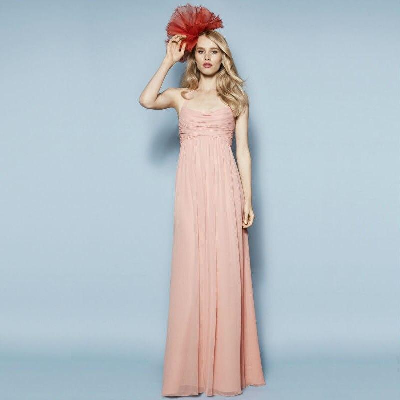 Peach Chiffon Bridesmaid Dresses 2016 Sashes Elegant Draped Tiered Vestidos De Festa Vestido Longo Vestido Defesta
