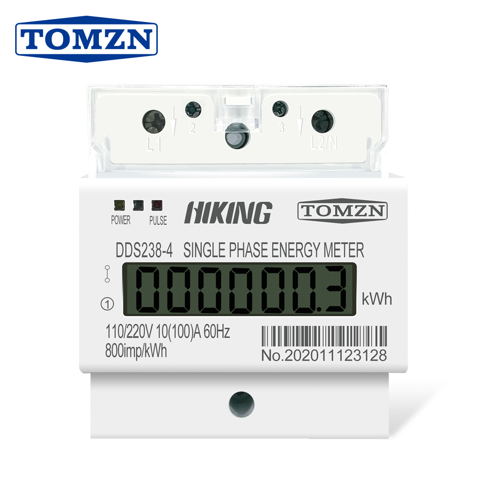 10(100)A 110V/220V 60HZ Single Phase Three Wire Din Rail KWH Watt Hour Din-rail Energy Meter LCD For America