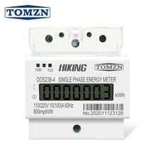 10(100) a fase monofásica de 110 v/220 v 60 hz três fios do trilho do ruído kwh watt da hora do medidor de energia do ruído-trilho lcd para américa