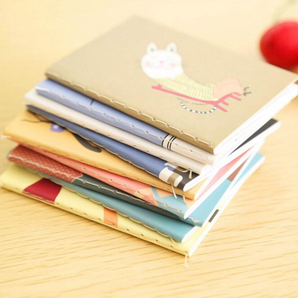 2pcs Kawaii Journal Diary Notebook Retro Notepad Book Korean Lovely Cartoon Image Notebook Vintage For Kids Stationery