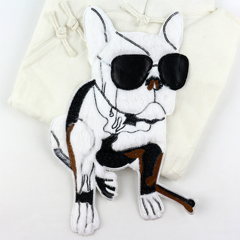 Large Embroidery Patch Sweater Down Jacket Handmade DIY Decoration Hole Repair Sticker Sunglasses Dog