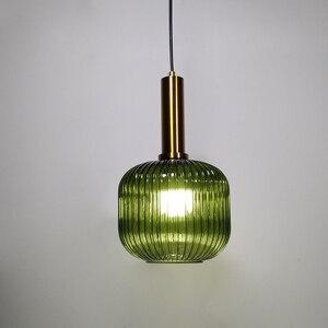 Image 2 - Color Pendant Lights Glass Hanging Lamp Green Gray Shade Kitchen Dining Room Bar Nordic Led Pendant Lamp Modern luminária E27
