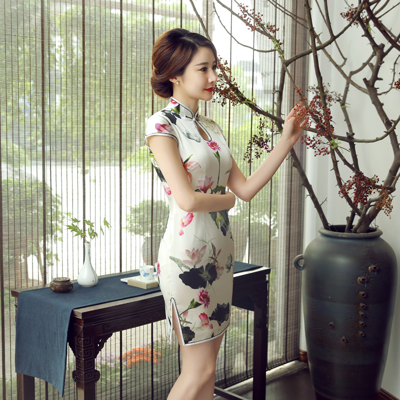 Real Silk Cheongsam Short Slim Dress Women's Summer Spring Clothing Retro Fashion Improved Daily Life Mulberry Silk Z0046
