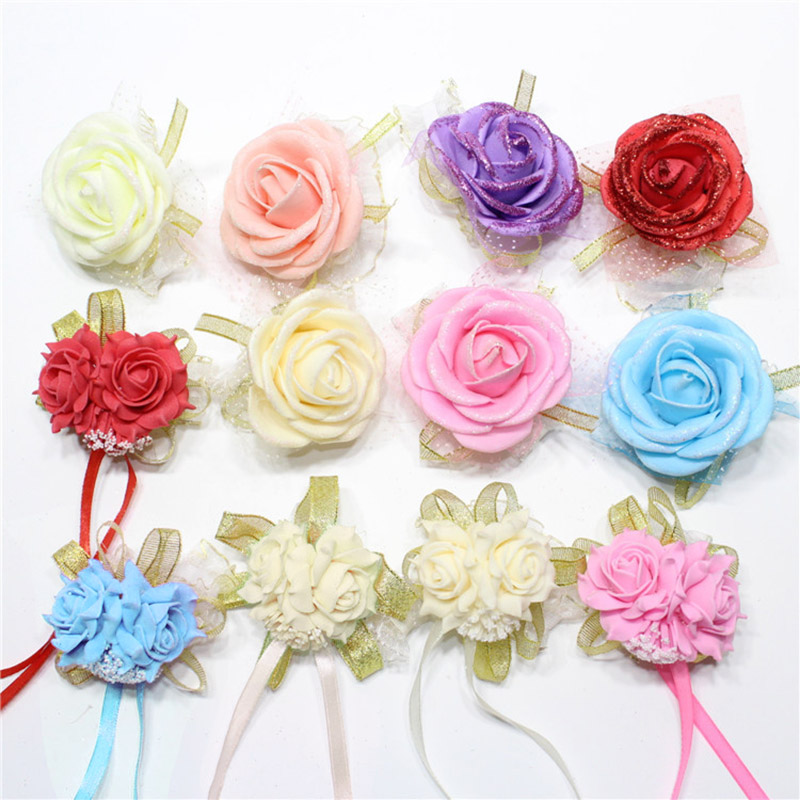 Hot 1PC Foam rose bridesmaid wrist corsage bracelet Wedding party Bridal   flower Ribbon Wrist