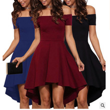 Fashion Women dress One word collar Off Shoulder Short-sleeved Large Swing party solid color elegant high low  retro