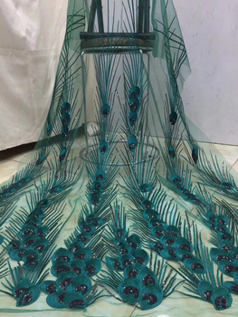 High quality African lace fabric mesh 2020 French lace fabric tulle and sequined Nigeria lace fabric wedding dress D36181