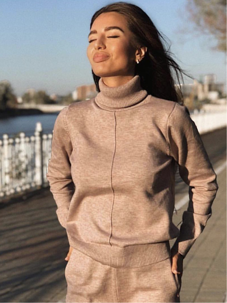 Sweater Suit Pullovers Track-Costume Knitted-Pants Turtleneck 2pieces-Sets Long Autumn Winter