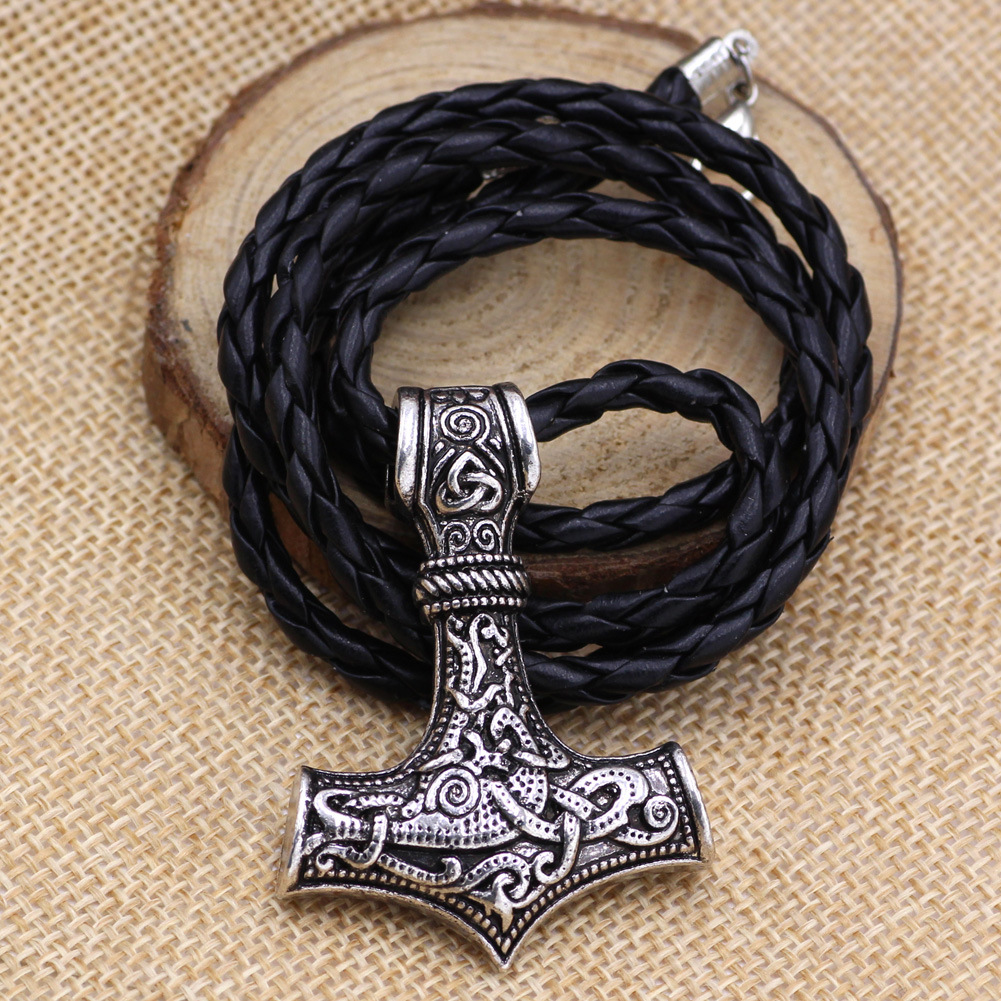 dropshipping 1pcs thor 39 s hammer mjolnir pendant necklace viking scandinavian norse viking necklace with stainless steel chain in Pendant Necklaces from Jewelry amp Accessories