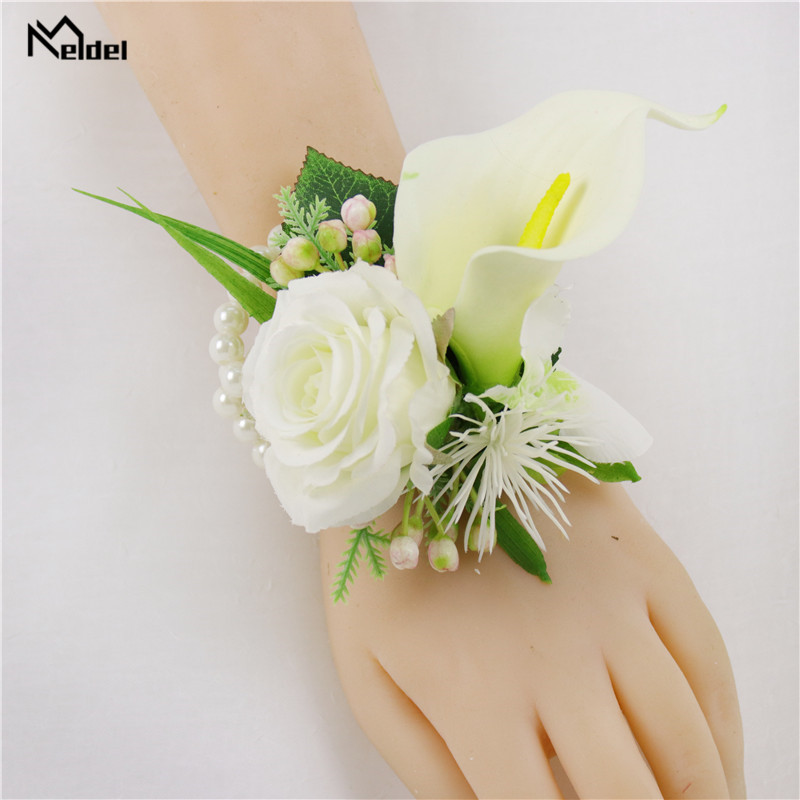 Meldel Silk Rose Calla Wedding Corsages And Groom Boutonnieres Bridesmaids Wrist Bracelets Marriage Party Prom Men Suit Flowers