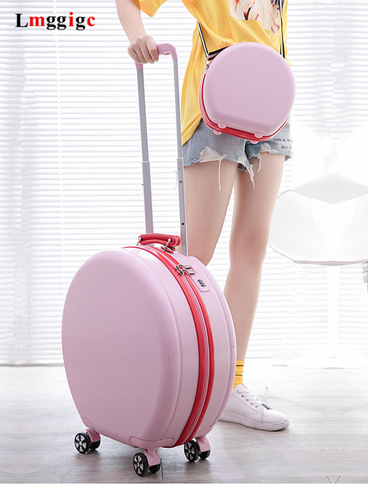 Women special Suitcase ABS+PC Round Travel  Luggage Bag with Universal wheel Cabin size Trolley Case with Round Handbag