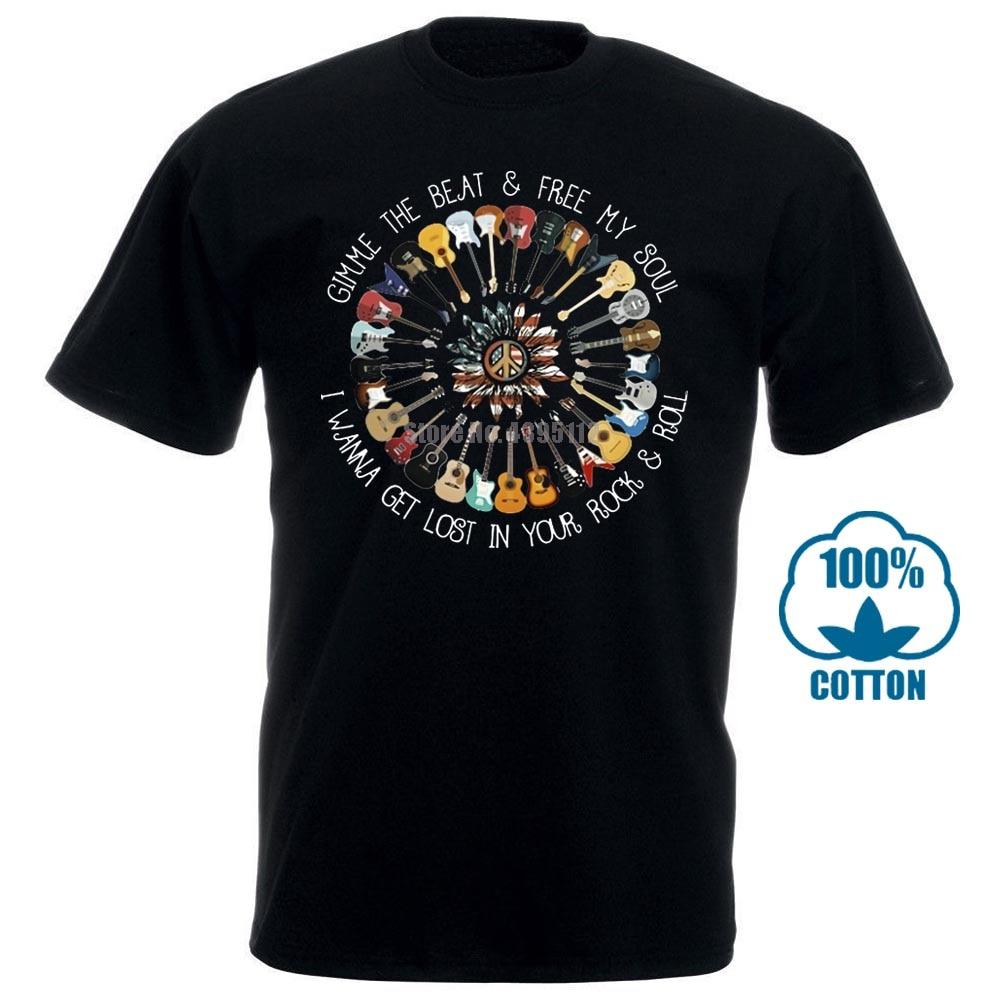 Hippie America Guitar Gimme The Beat & Free My Soul T Shirt Black Men S 6Xl