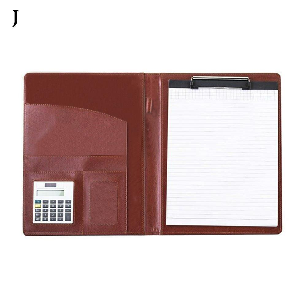 1pc Pu Leather File Folder With Mini Calculator Business Organizer Documents Files Folder Stationery Business Office Suppli P9J9