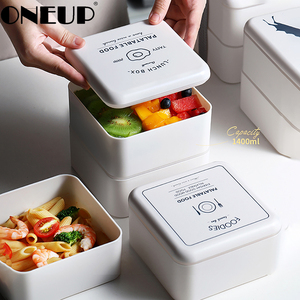 ONEUP Japanese Style Lunch Box New 2 Layers Simple Portable Bento Box Salad Food Containers With Spoon Chopsticks Microwaveable