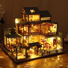 P006 DIY Dollhouse Puzzle Educational Toy for Children Handmade Miniature Furniture Assemble Wooden Doll House Crafts Kids Toys
