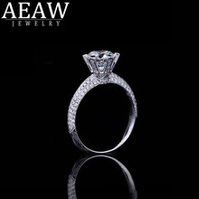 Solid 14K White Gold 0.5ct 5mm Round Cut Engagement & Wedding Moissanite Diamond Ring Double Halo Ring for Women(China)