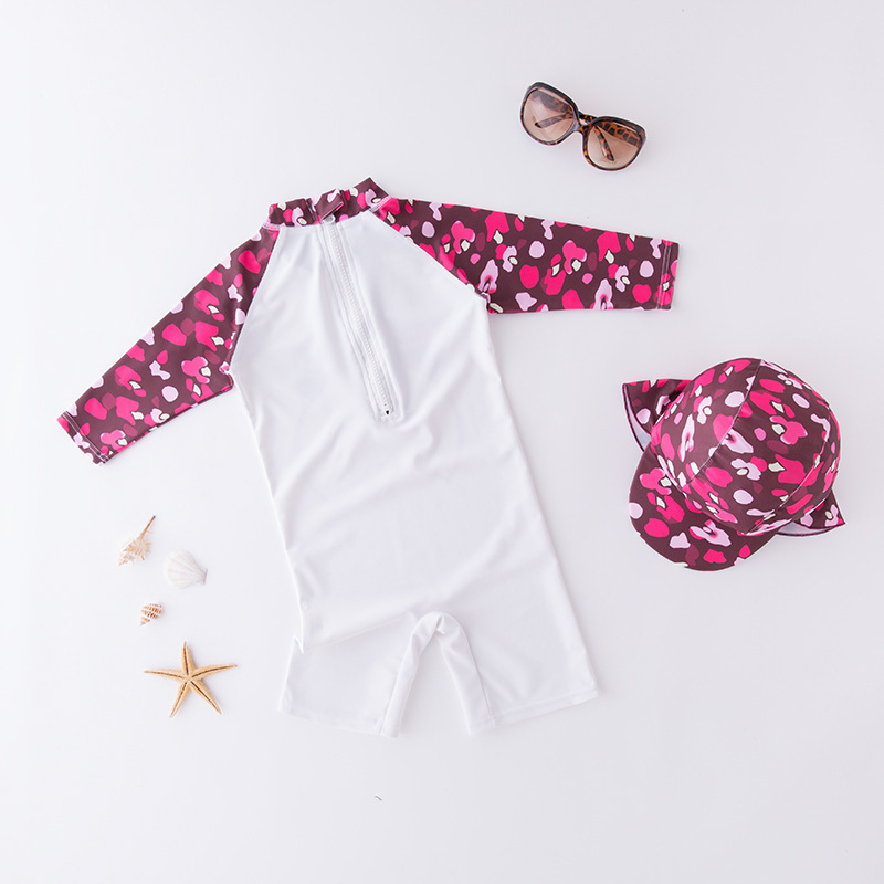 Girl'S One-piece Swimming Suit Floral Cat Headband Hat-Children Hot Springs Bathing Suit