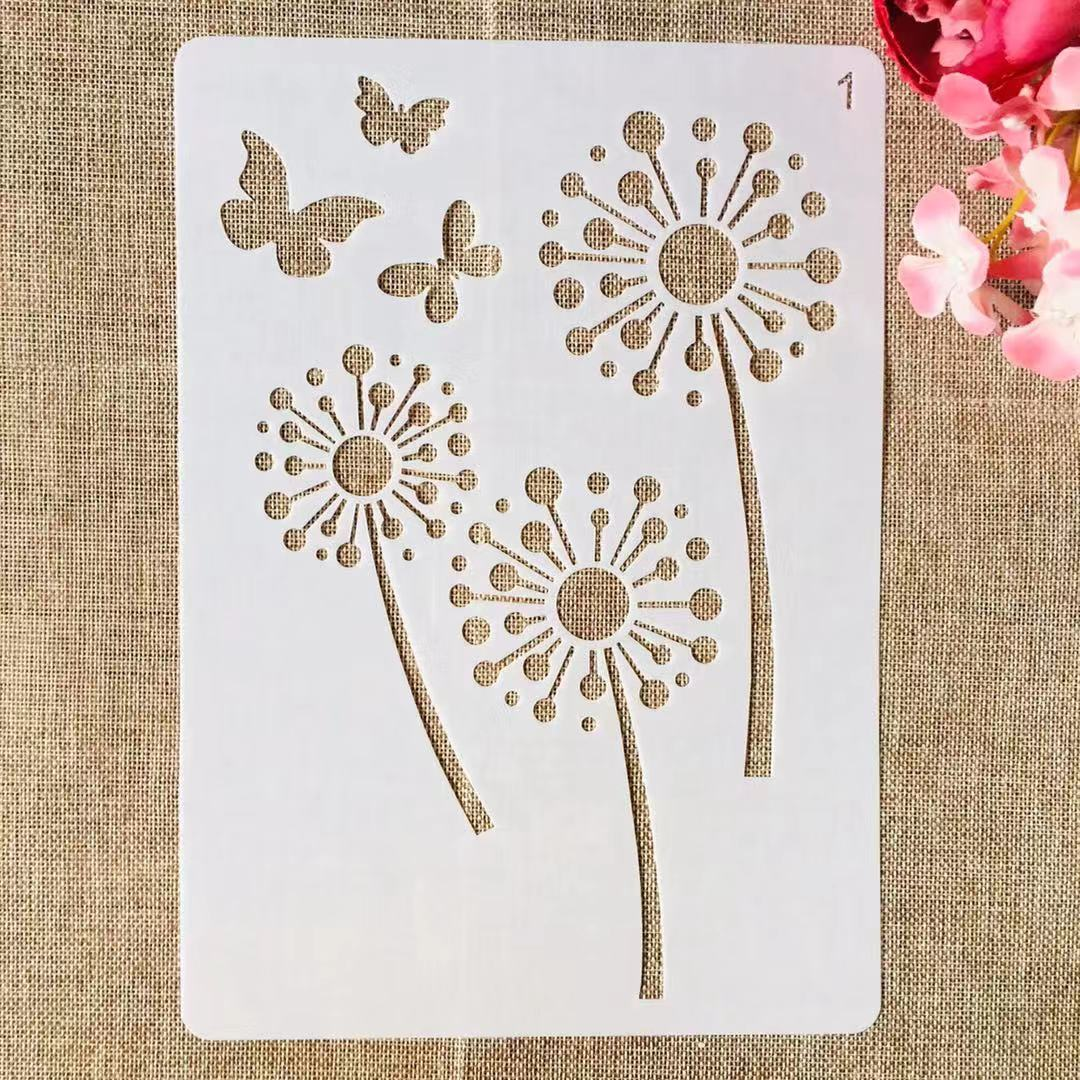 1Pcs A4 29cm Dandelion Butterflies DIY Layering Stencils Painting Scrapbook Coloring Embossing Album Decorative Template