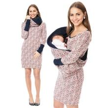 Maternity Nursing Hoodie Winter Pregnancy Dress Long For Pregnant Women Breastfeeding Hooded Tops T Shirt Autumn Lactation Dress