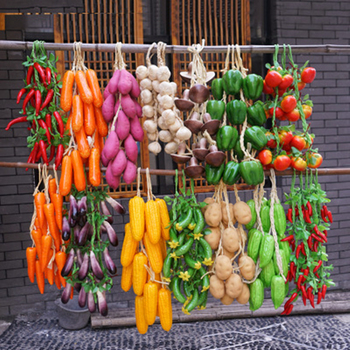 A Bunch Agritainment Corn Pepper Pumpkin Garlic Model with Hemp Cable Simulation Artificial Food and Vegetables Hotel Decoration