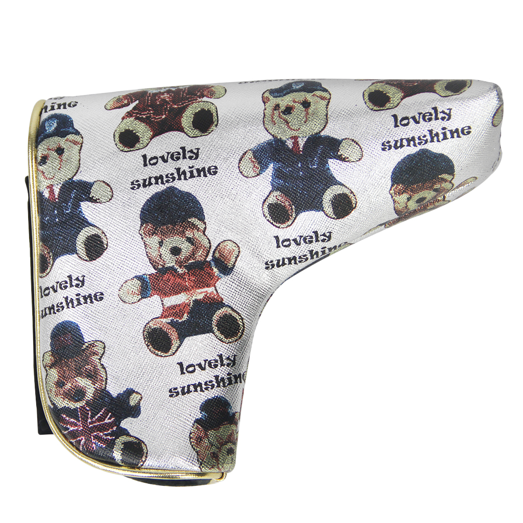 Premium PU Leather Golf Putter Head Cover & Magnetic Closure, Bear Pattern - Replacement Golf Blade Headcover