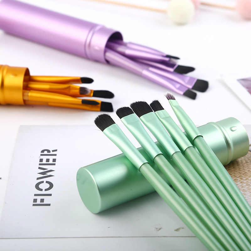 5 Pcs Reizen Draagbare Mini Eye Make-Up Kwasten Set Professionele Smudge Oogschaduw Eyeliner Wenkbrauw Borstel Lip Make-Up Borstel Kit