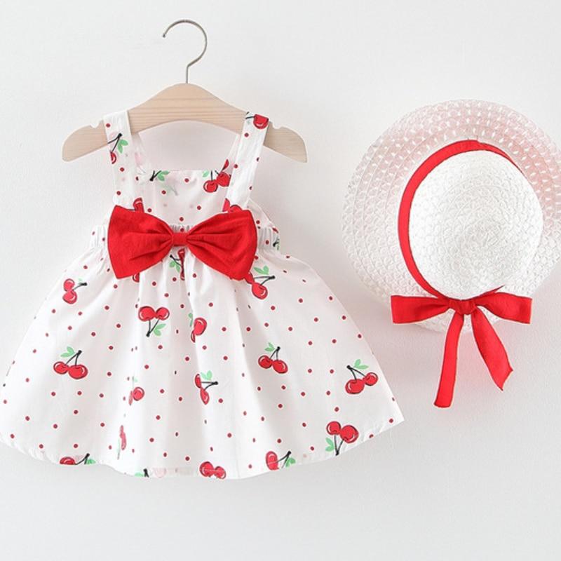 Bebê meninas vestidos 0-2 anos old2020 chapéu de verão 2 peça conjunto de roupas para crianças bebê sem mangas festa de aniversário vestido de princesa