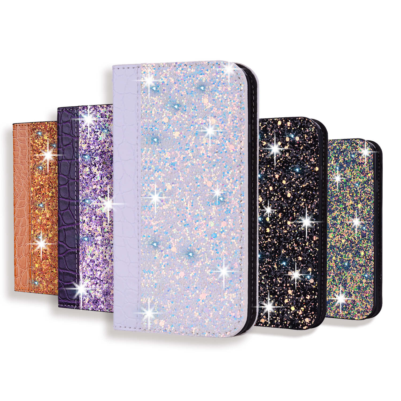 Glitter Bling Case For Samsung Galaxy S11 8 9 10 Plus Leather Flip Book Coque For Samsung A71 A50 A70 A40 A5 A6 A7 A8 A9 Funda