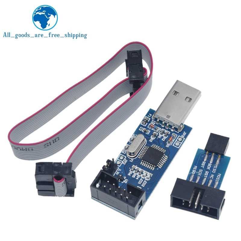1 комплект USBASP USBISP AVR программист USB ATMEGA8 ATMEGA128 ATtiny/CAN/PWM 10Pin провод модуль DIY + 10Pin до 6 Pin адаптер доска