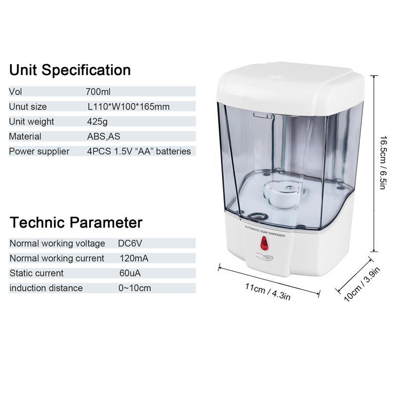 Image 3 - Hand Free 700ml Automatic Soap Dispenser Touchless Sanitizer  Dispenser Smart Sensor Liquid Soap Dispenser For Kitchen BathroomLiquid  Soap Dispensers
