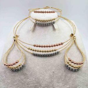 Дубай ожерелье серьги в золотой цвет медь для женщин Африканский/нигерийский/Ближний Восток Свадебные/вечерние подарки/Свадебный комплект...