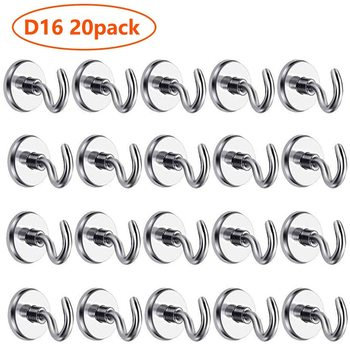 D16 Heavy Duty Neodymium Rare Earth Magnet Hook 20 Pack 12LB Pulling Force Hanging Mighty Magnetic Close Hooks Great for Fridge