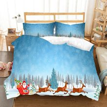 Merry Christmas Theme 3D Elk Santa Claus Snowflake Print Blue Comforter Set Queen Double Girl Bed Linen Set Winter Home Bedding(China)