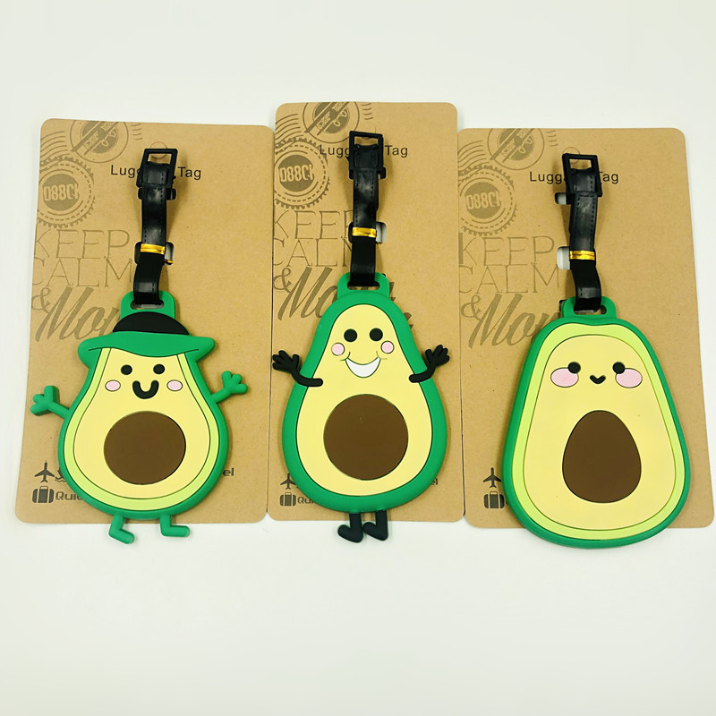 New Avocado Luggage Tag Cartoon Travel Accessories Silica Gel Suitcase ID Address Holder Baggage Boarding Tag Portable Label Bag