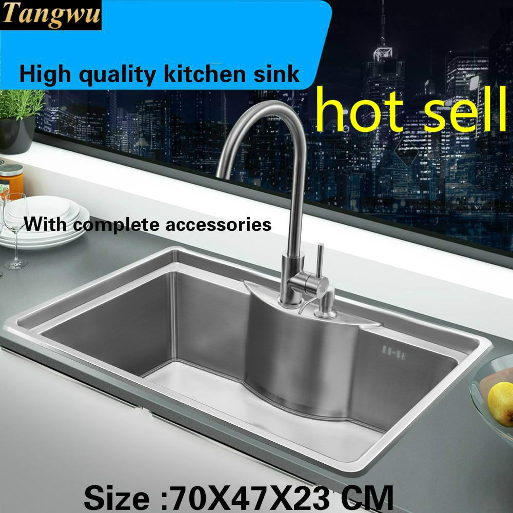 Tangwu High Quality Food Grade Smooth Surface Of 304 Stainless Steel Kitchen Sink Thickening Large Single Slot 70x47x23cm