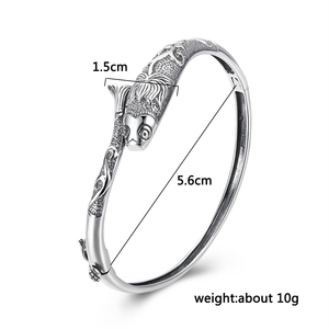 Image 5 - V.YA Thai Silver Vintage Bangles Fish Bracelets for Women 925 Sterling Silver Jewelry Unique Toggle clasps Design 56MM
