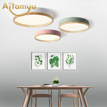 AC90-265V LED Ceiling Lights Nordic Style Round Ceiling Mounted Lamp For Bedroom Wooden Kitchen Lighting Fixture trazos led round ceiling lights nordic style ceiling mounted lamp for bedroom dining living room wooden kitchen lighting fixture