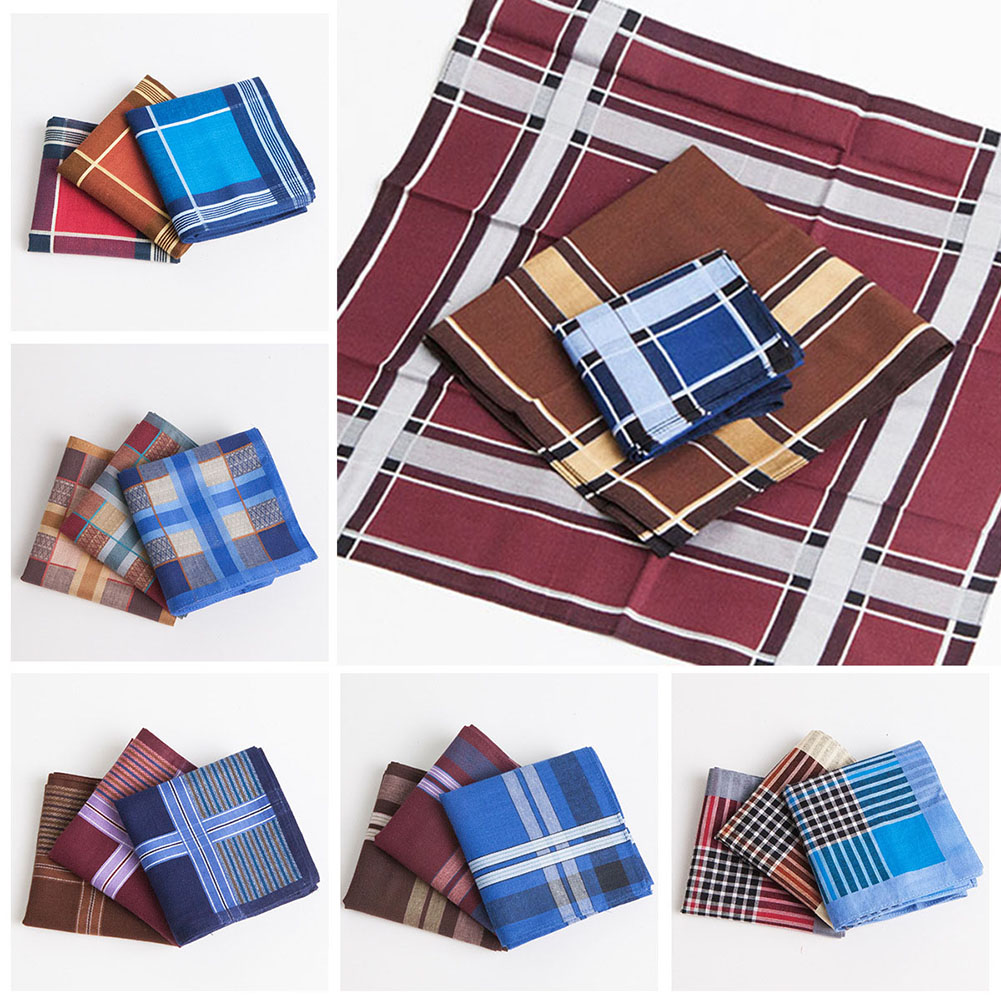3PCS 43*43cm Vintage Plaid Striped Solid Cotton Handkerchief Pocket Square  Luxury Chest Towel Prom Wedding Party Gift