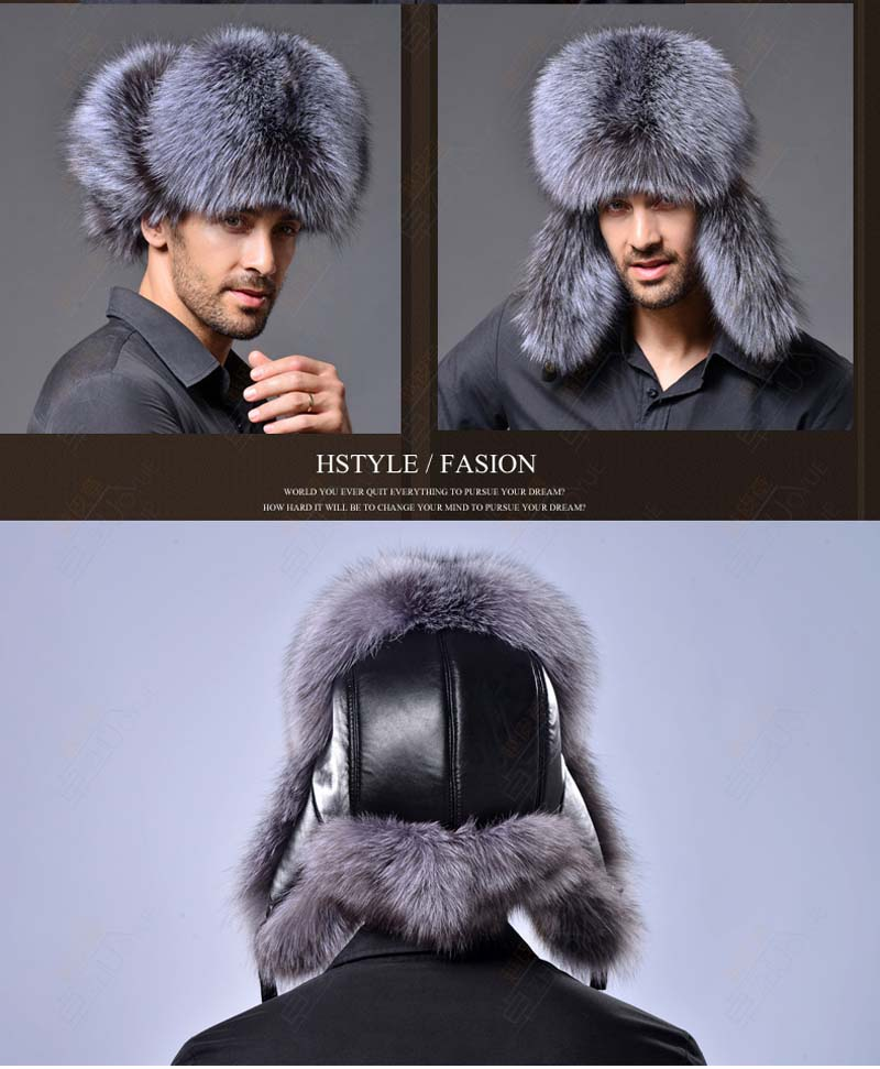 Masculino quente ushanka pele chapéu-inverno faux peles