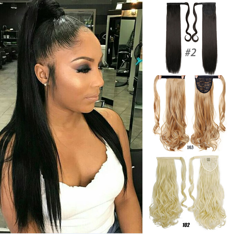 24inches Long Wrap On Synthetic Straight Ponytails For Women Natural Clip In Hair Extension Hairpieces Blonde False Hair