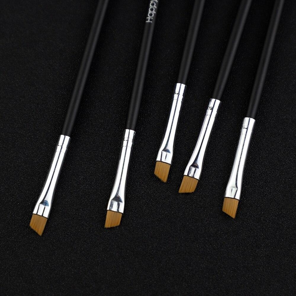 5 шт. профессиональная Черная кисть для бровей наклонная плоская угловая кисть инструмент для макияжа деревянная палка подводка для глаз те...