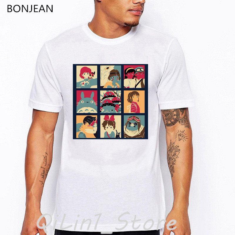 totoro Spirit Away t shirt men vintage tshirt camisetas hombre japenese cartoon Anime print t shirt men harajuku shirt homme in T Shirts from Men 39 s Clothing
