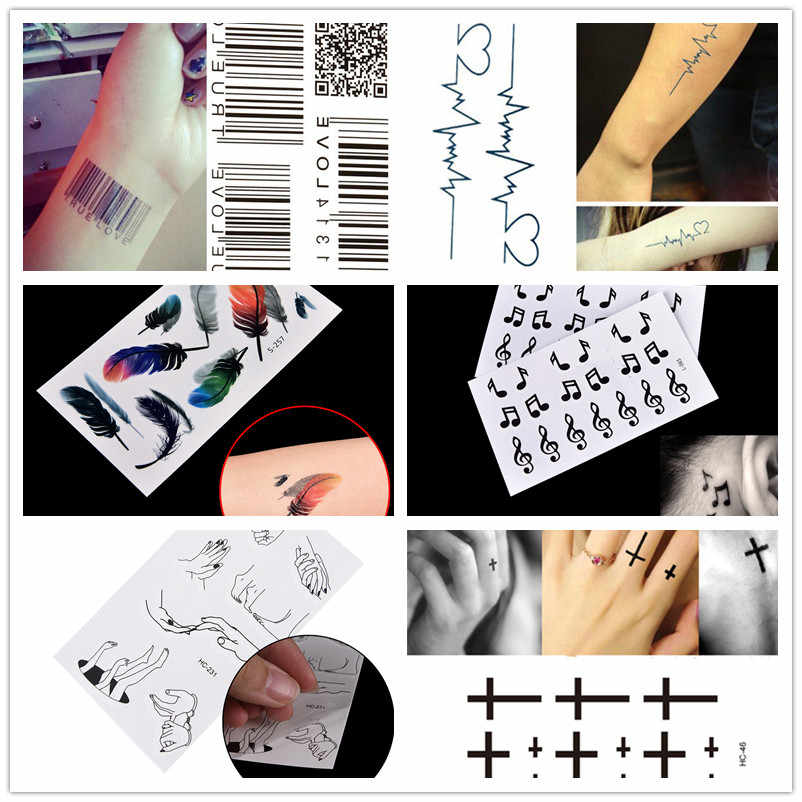 1pc Waterproof Tattoo Sticker Body Art Tattoo Water Transfer Feather Music Note Cross Barcode Temporary Tattoo Sticker
